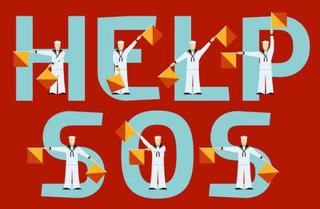 Hulp en SOS semafoor vlaggen en tekst op rode achtergrond Stock Illustratie