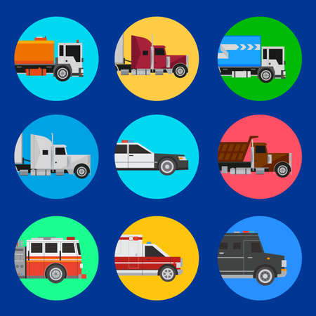 Cars icons including trucks, amulance, police, fire engine, vans