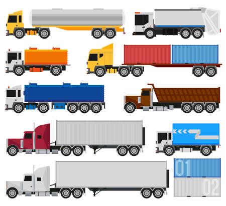 tanque de combustible: Camiones y remolques sobre un fondo blanco. Entrega y transporte marítimo de carga de camiones y semirremolques camiones. Para infografía o el diseño