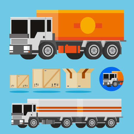 3d vector orange and white trucks, shippnig box and truck icon