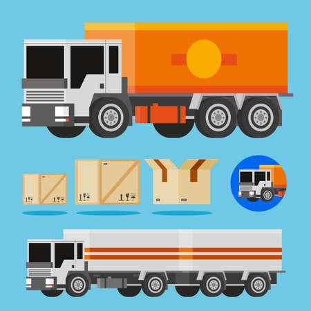 3d vector oranje en wit vrachtwagens, last van Shippnig doos en truck pictogram