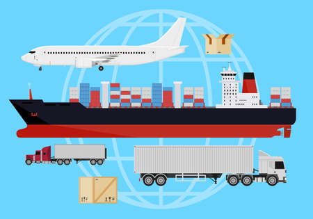 Shipping and delivery vehicles, trucks, aircraft and cargo ship on a blue background with a silhouette of earth