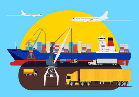 Shipping composition idea with a delivery heavy trucks, cranes loading the cargo ships and aircraft passing by