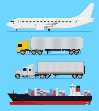 container port: Shipping and delivery vehicles, trucks, aircraft and cargo ship on a blue background
