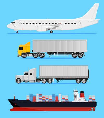 Wysyłki i dostawy samochody, ciężarówki, samoloty i statek towarowy na niebieskim tle