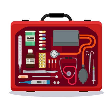 Rode medische koffer met gereedschap en geneeskunde op een witte achtergrond. Mening binnen de koffer op het gereedschap