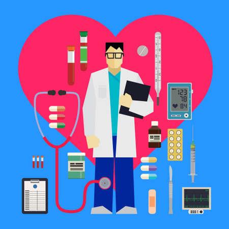 医師および医療ツールと青色の背景に赤いハートの周りの設備