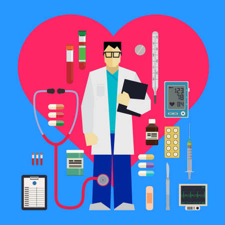 blood pressure monitor: Doctor and medical tools and equipments around the red heart on a blue background