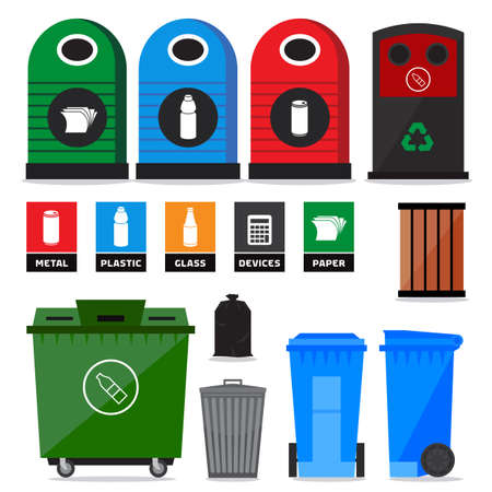 reciclar basura: Basura, basura, contenedores de basura y papeleras. Los iconos y signos de reciclaje de productos y tipos Vectores