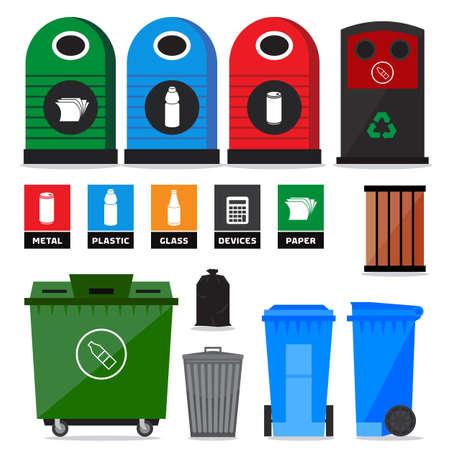 Garbage, zwerfvuil, afval containers en vuilnisbakken. Pictogrammen en tekens van recycling producten en types