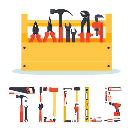 Platte houten hardware-instrumenten doos met instrumenten in het en de letters gemaakt van gereedschappen