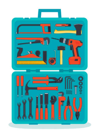 hardware tools: Flat hardware tools set in a case