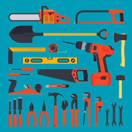 hardware: Flat hardware tools set on a blue background