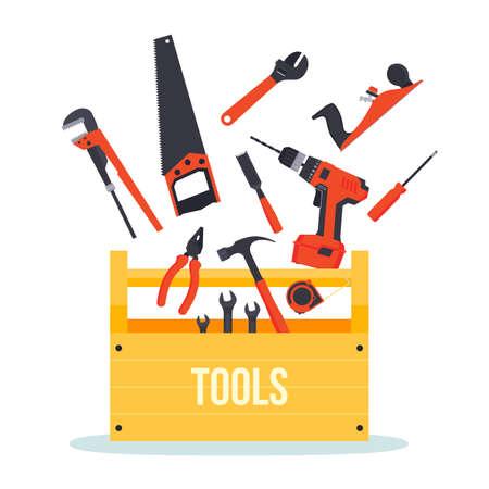 herramientas de carpinteria: Herramientas de hardware de madera planas caja con herramientas volando alrededor Vectores