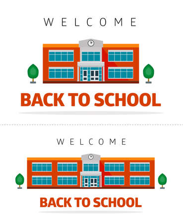 School building on a white background, trees and slogan - back to school