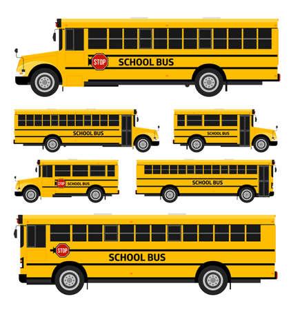 transporte escolar: Autobuses escolares vector plana en dos partes consideran