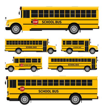 school illustration: Flat vector school buses in two sides view