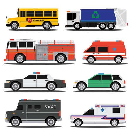 Platte stad dienstauto's, policem ambulance, brandweerwagen, schoolbus, vuilniswagen