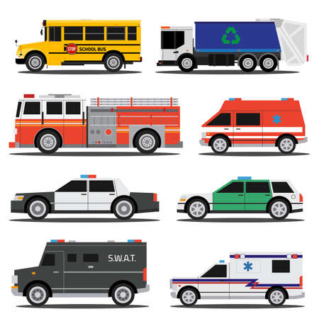 Flat city service cars, policem ambulance, fire engine, school bus, garbage truck