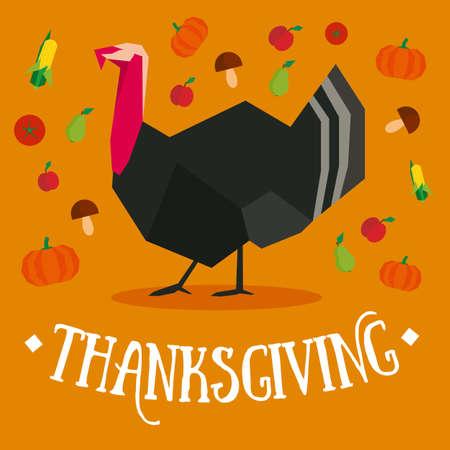 Thanksgiving ansichtkaart met kalkoen en groenten in bruine en oranje kleuren Stock Illustratie