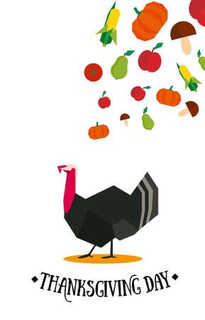 Thanksgiving day white vertical postcard with vegetables and turkey Ilustração