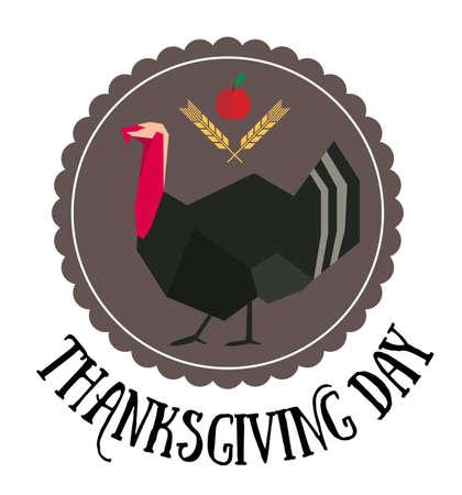 Thanksgiving day logo met Turkije in cirkel