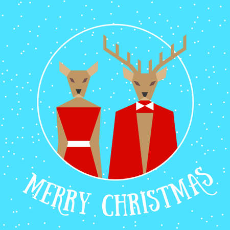 Merry christmas reindeer couple card in red finery