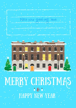 Merry Christmas and Happy New Year postcard with european house, snowing