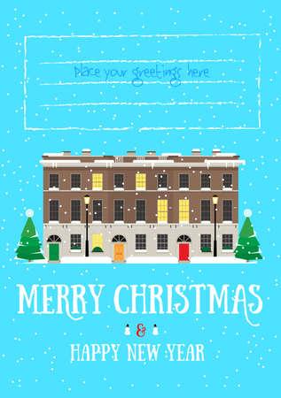 Vrolijk Kerstfeest en Gelukkig Nieuwjaar postkaart met Europees huis, het sneeuwen Stock Illustratie