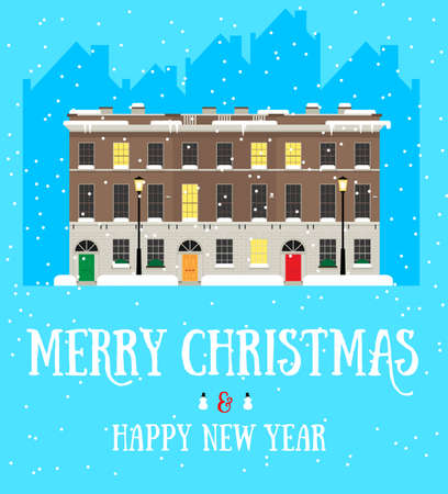 Merry Christmas and Happy New Year square postcard with european house, snowing