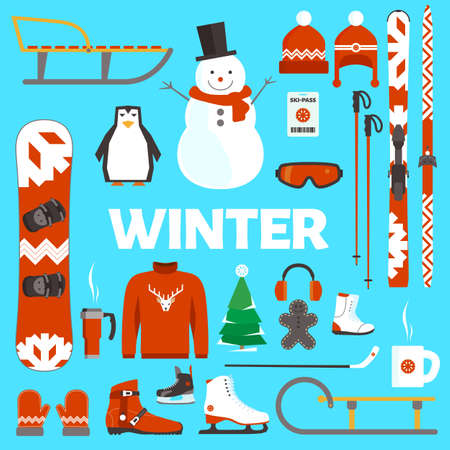 objects equipment: Winter holidays flat objects and equipment on blue background