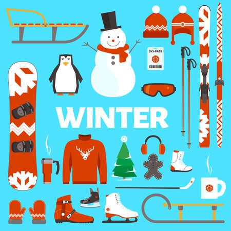 Wintervakantie platte voorwerpen en materialen op een blauwe achtergrond