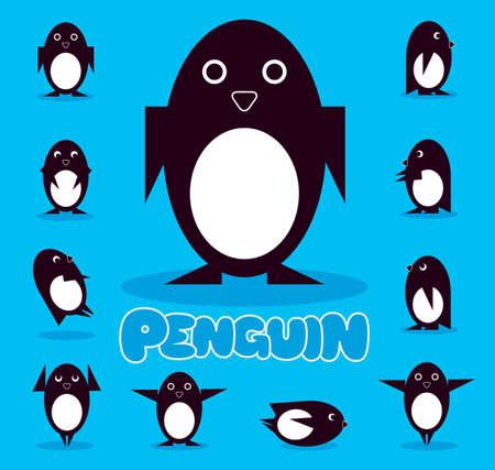 Leuk gelukkig pinguïn karakter in verschillende poses, wandelen, dansen, glimlachen Stock Illustratie