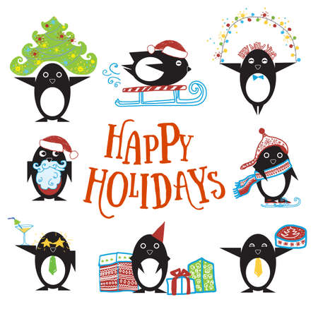 Penguin characters with hand drawn clothes and objects, presents, winter holidays Ilustração