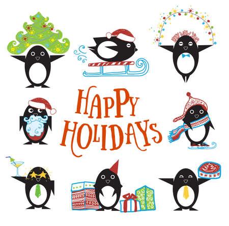 Pinguïn personages met de hand getekende kleding en objecten, cadeautjes, wintervakantie Stock Illustratie