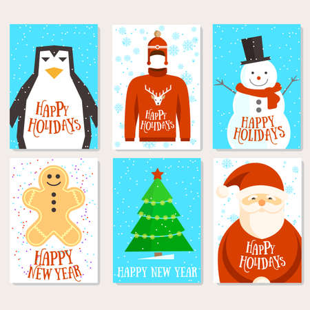 Holidays template cards. christmas and new year, six cards with santa, winter cozy design