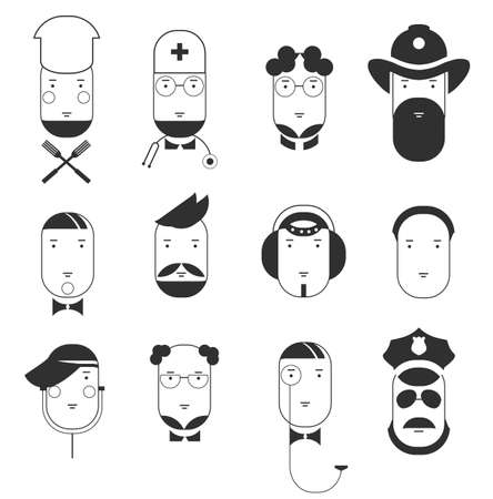 Creative flat icons of people professions. Faces of all main occupations. Isolated vector illustration Ilustração