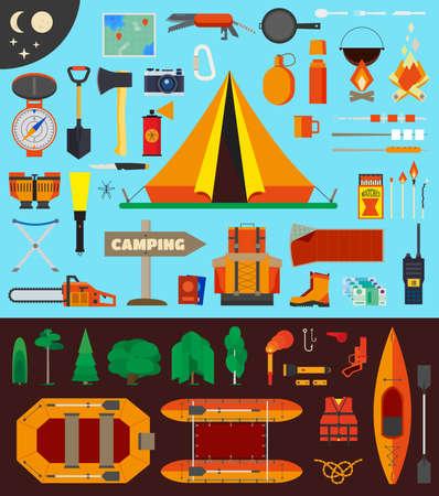 Geïsoleerde elementen voor reizen en kamperen infographics. Waaronder raft en kajak boten en levensreddende hulpmiddelen