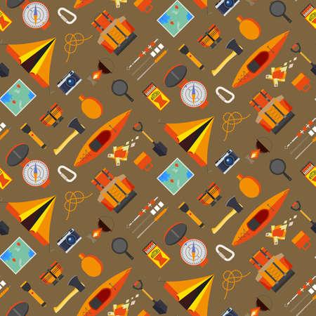 Creative camping naadloze patroon op een oranje achtergrond. Kampeeruitrusting en handige tools voor vakantie Stock Illustratie