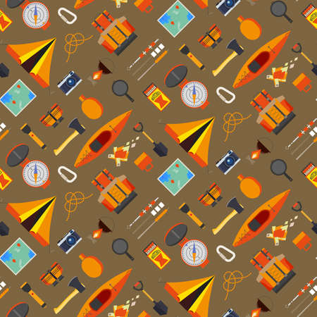 Creative camping seamless pattern on a orange background. Camping equipment and useful tools for holidays Ilustração