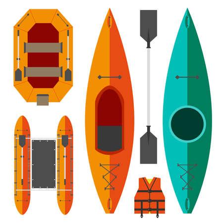 Kajak en raft boten op een witte achtergrond in oranje en groene kleuren