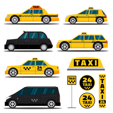 american cities: Modern and classic American and Europe taxi cars. London cabs and taxi checkered signs