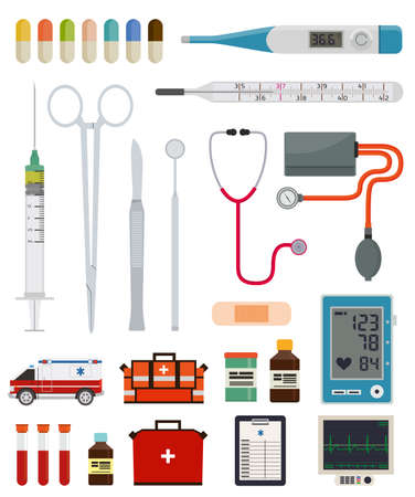 Medical instruments, equipment and tools on a white background Illustration
