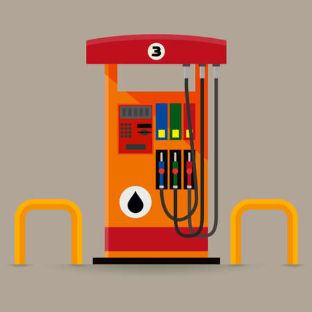 Flat modern gas pumps station with a safety bar