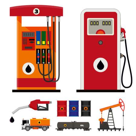 Flat moderne en klassieke benzinepompen Stock Illustratie