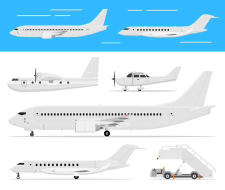 Modern and classic passenger airplanes, private business jets and single engine air planes standing and flying, side view, isolated.