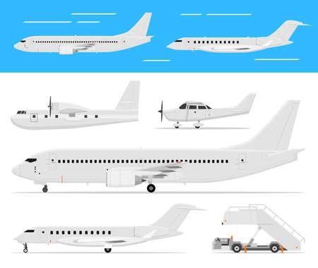 Moderne und klassische Passagierflugzeuge, Privat Business-Jets und einmotorige Flugzeuge stehen und fliegen, Seitenansicht, isoliert.