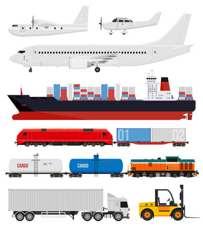 Cargo transportation by train, trucks, ships and airplanes. Flat style icons and illustration. Vectores