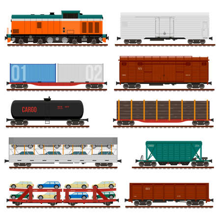 Collection of freight cars. side view flat illustrations. Infographics use. Ilustração