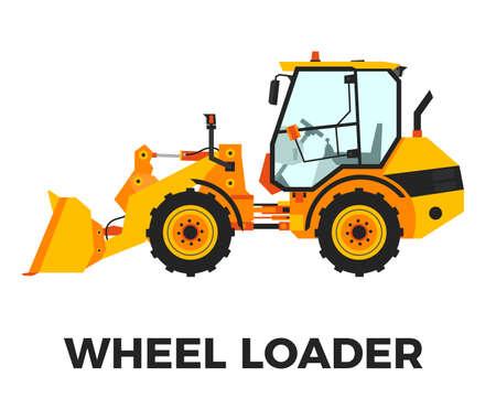 Orange Wheel Loader Construction Vehicle on a white background